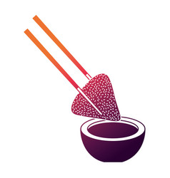 Dumpling rice plate and soy sauce with sticks vector