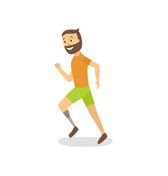 flat athlete running with foot prosthesis vector image