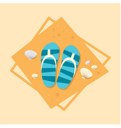 Flip flops icon summer sea vacation concept vector