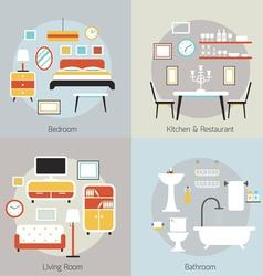 Furniture in bedroom restaurant bathroom living vector