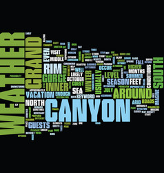 Grand canyon weather text background word cloud vector