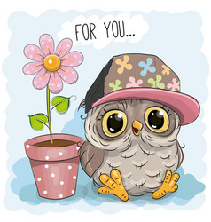greeting card cute cartoon owl vector image vector image