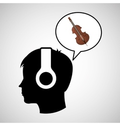 head silhouette listening music fiddle vector image vector image