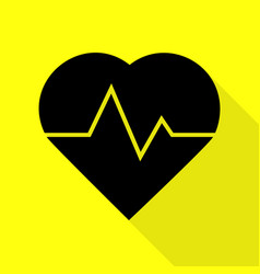 Heartbeat sign black icon with flat vector