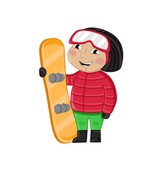 Little girl in winter clothes holding skateboard vector