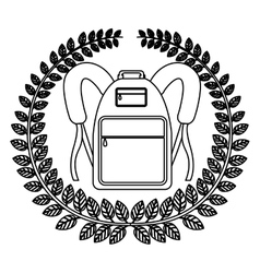 Monochrome silhouette with olive crown with school vector