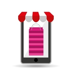 Online shopping pink bag gift design vector