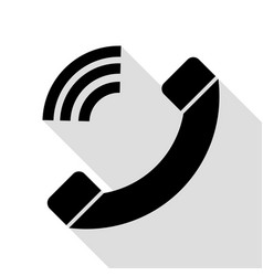 phone sign black icon with flat vector image