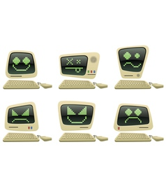 retro computer icon set with faces vector image