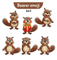 Set of cute beaver characters set 2 vector