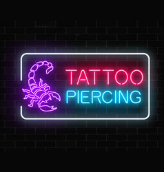 Tattoo and piercing parlor glowing neon signboard vector