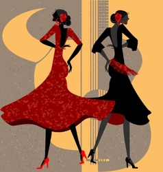 two flamenco dancers vector image vector image