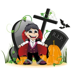 Vampire and pumpkins on the cemetery vector