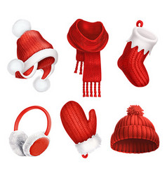 Winter clothes Knitted hat Christmas sock Scarf vector image vector image