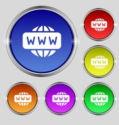 WWW icon sign Round symbol on bright colourful vector image