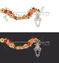 Flowers and vintage element vector