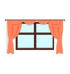 Window with red curtains vector