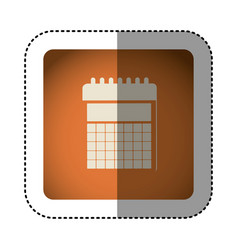 sticker color square with calendar icon vector image