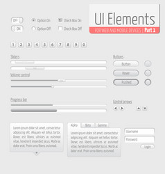 light ui elements part 1 sliders vector image