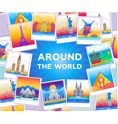 Around the world - line travel vector