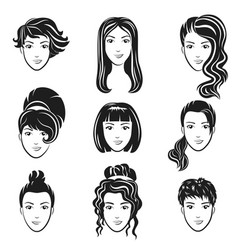 set of women avatar hairstyles stylized vector image