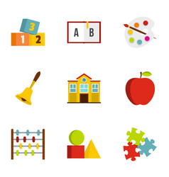 Kindergarten icons set flat style vector