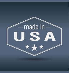 Made in usa hexagonal white vintage label vector