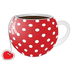 Red cup with white circles vector