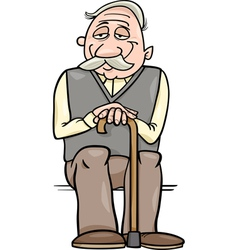 Senior with cane cartoon vector