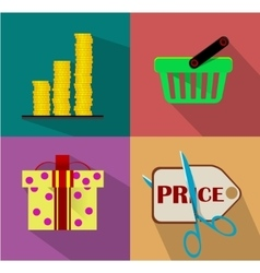 Shopping flat icon set vector
