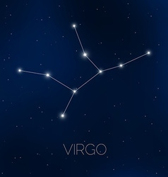 Virgo constellation in night sky vector