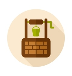 Water well flat icon with long shadow vector