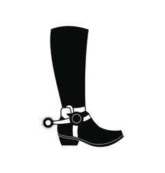 Cowboy boot black simple icon vector