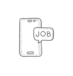 Touch screen phone with message sketch icon vector