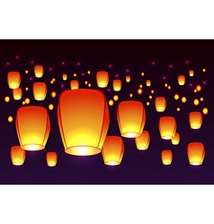 Air lanterns in the sky vector