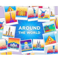 Around the world - line travel vector