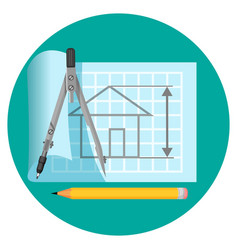 blueprint icon with project of house compasses vector image vector image