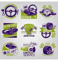 Car Repair In Color Emblem Set vector image