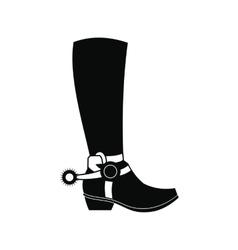 Cowboy boot black simple icon vector image vector image
