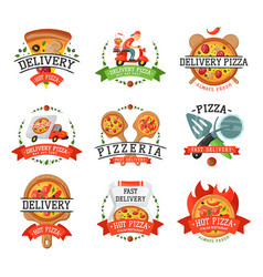 Delivery pizza badge vector