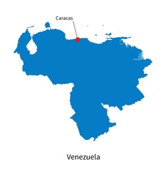 Detailed map of Venezuela and capital city Caracas vector image vector image