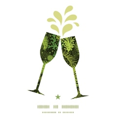 Evergreen christmas tree toasting wine glasses vector