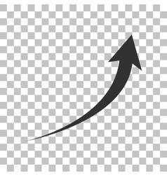 Growing arrow sign dark gray icon on transparent vector