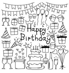 hand drawn doodle happy birthday set vector image