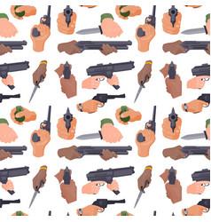 Hand firing with gun protection ammunition crime vector