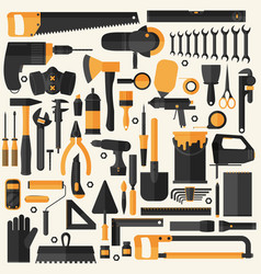 hand tools icon set flat design eps10 format vector image vector image