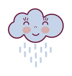 Kawaii happy cloud raining with close eyes and vector