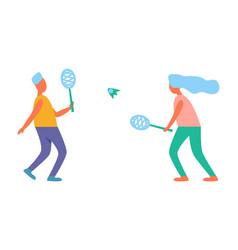man and woman playing tennis vector image vector image