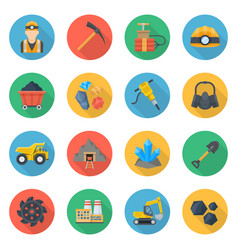 mining icons flat style set vector image vector image