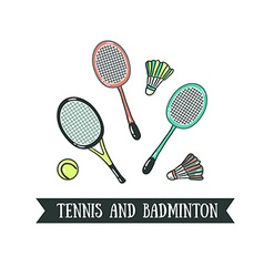 Modern of badminton racket and big tennis sports vector